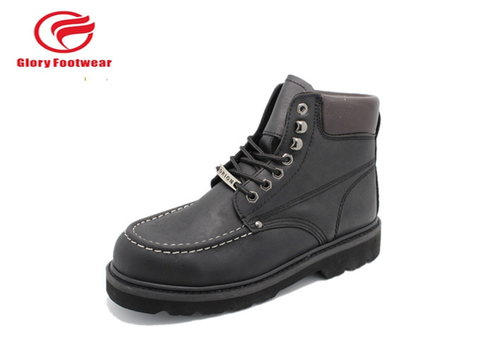 Cowboy Black Yellow Goodyear Steel Toe Boots For Office / Engineer Waterproof