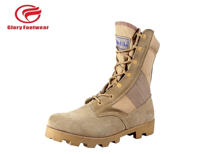 8 Inch High Heel Cow Suede Combat Boots Mens Sand Color With Cotton Fabric Lining