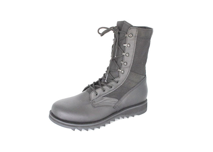PU Coated Dms Military Boots , Mens Black Leather Military Style Boots Rubber Outsole