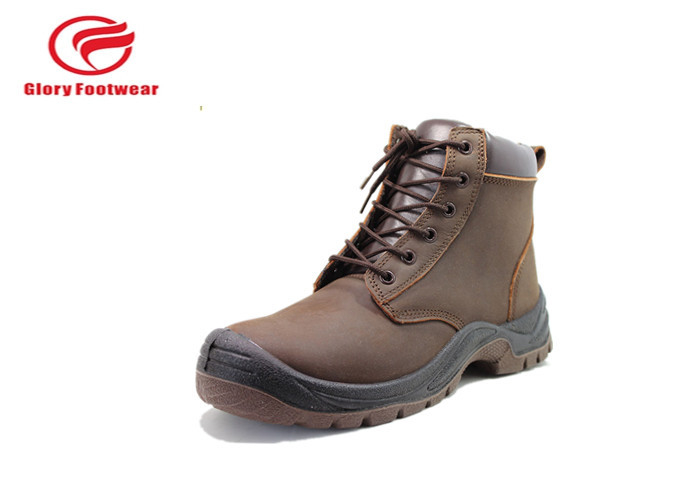 Cow Leather Mesh Lining Pu Sole Safety Shoes , Office Brown Leather Safety Shoes