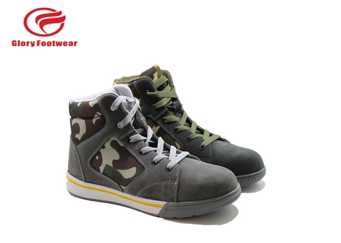 Cow Suede Low Top Safety Toe Shoes With Rubber Outsole Camouflage Oxford Mesh